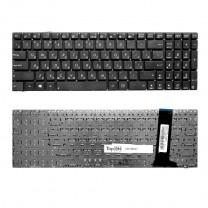 Клавиатура для ноутбука Asus N56, плоский Enter, черная, без рамки