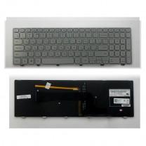 Клавиатура для ноутбука Dell 15-7000, серебристая, с рамкой, с подсветкой
