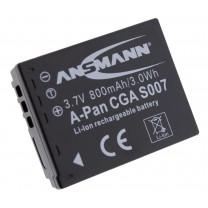 Аккумулятор CGA-S007 для фотоаппарата Panasonic Lumix DMC-TZ1, Li-ion, 800 mAh