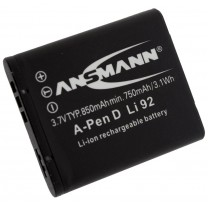 Аккумулятор Dli-92 для фотоаппарата Pentax Optio RZ10, Li-ion, 850 mAh