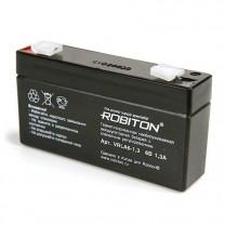 Свинцово-кислотный аккумулятор Robiton VRLA6-1.3, 6 В, 1.3 А∙ч