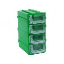 Контейнер К5, корпус зеленый (лоток прозрачный), 49х82х100мм