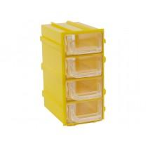 Контейнер К5, корпус желтый (лоток прозрачный), 49х82х100мм