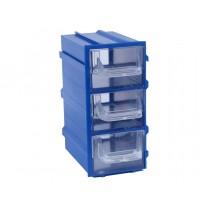 Контейнер К4, корпус синий (лоток прозрачный), 49х82х100мм