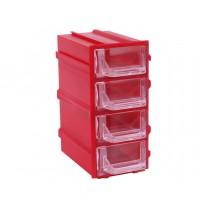 Контейнер К5, корпус красный (лоток прозрачный), 49х82х100мм